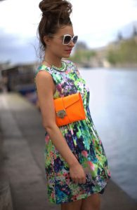 neon floral print dress use
